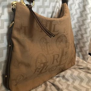Ralph Lauren equestrian fabric and leather bag